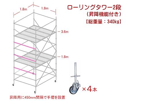 ヒット商品!2段式ローリングタワー
